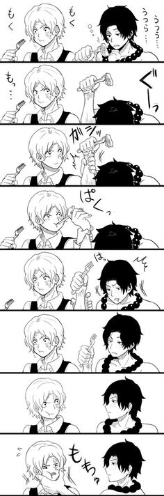 This is so adorable! Sabo is so serious about eating Ace's food ♡♡♡ but gets caught  - ASL Dork Brothers