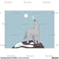 Howling Arctic Wolf Postcard #wolf #wolves #animals #snow #howl