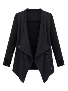 Casual Women Solid Irregular Patchwork Lapel Zipper Long Sleeve Jacket