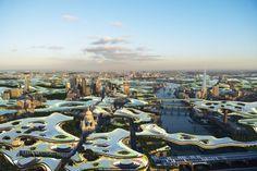 Ciudad superior para Londres. Urbanismo por capas. Arquitectos de Clive Wilkinson han ideado una solución que tiene que ver con el urbanismo por capas, para paliar muchos problemas de la ciudad de Londres. Se trata de una nueva capa urbana situada por encima de los edificios, con espacios para el trabajo, que reducirían tiempos de desplazamiento, y serviría para la ubicación de instalaciones fotovoltaicas.  #Urbanismo