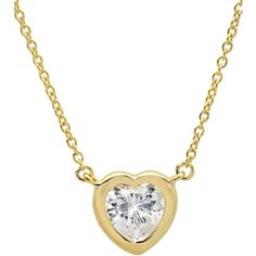 "Crislu Heart Pendant Necklace, 16"" ($78) ❤ liked on Polyvore featuring jewelry, necklaces, gold, gold necklace, yellow gold pendant, pendants & necklaces, heart necklace and yellow gold necklace"