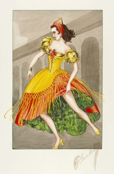 Costume Sketch of Cyd Charisse as a Dancer in the Metro-Goldwyn-Mayer Production, 'The Kissing Bandit' | LACMA Collections