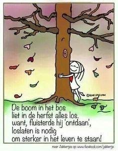 De boom in het bos fluisterde loslaten is nodig. .