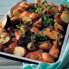 The Chicken, Lemon and Oreganum Tray Bake is a meaty, chunky and flavourful dish. Fun Baking Recipes, Baby Potatoes, Pickled Onions, Roasting Pan, Lemon Chicken, Perfect Food, Winter Food, Tray Bakes, Food To Make