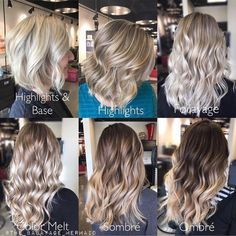 "This is fantastic! Thank you for sharing @the_balayage_mermaid ❤️❤️ Blonde options  ""1. Highlights & Base: this is the highest maintenance blonde option (next to on scalp platinum) this is a heavy full foil with a base bump. The bump is applied in between your foils if you get gray coverage, if not it's a bump at the bowl. Maintenance 4-6 weeks 2. Highlights: traditional foil highlights and or lowlights.  Maintenance 6-8 weeks 3. Foilayage: a combination of traditional foi..."