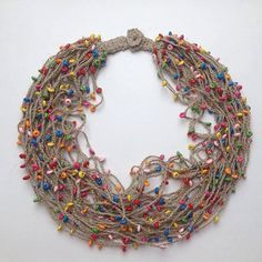 RUSTIC NECKLACE. statement necklace. Multi coloured necklace. Multistrand Long beaded necklace. Linen beads. Wood beads. Crochet necklace. Multi-colour beads. Elegant necklace. Necklace party. This necklace ready to ship. I can make it order according to your size and requests.