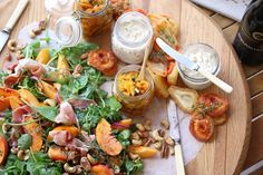Dried fruit Pickle, Smoked Snoek Pate and Peach & Prosciutto Salad South African Recipes, Ethnic Recipes, Snack Platter, Dried Fruit, Prosciutto, Diy Food, Pasta Salad, Pickles, Harvest