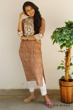Pottery Barn Embroidered Kurta with Cigarette Pants - House of Ayana Simple Kurta Designs, Kurta Designs Women, Dress Neck Designs, Blouse Designs, Embroidered Kurti, Churidar Designs, Kurta Neck Design, Kurti Designs Party Wear, Dress Indian Style