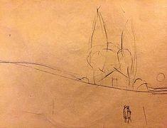 Paesaggio e amanti - Disegno a matita su carta.