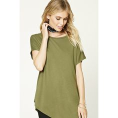 Forever21 Contemporary Asymmetrical Tee (17 CAD) ❤ liked on Polyvore featuring tops, t-shirts, olive, short sleeve tops, asymmetric t shirt, sleeve t shirt, army green t shirt and olive t shirt