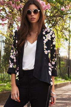 Outlet Girls On Film Floral Print 3/4 Sleeve Jacket - Outlet Girls On Film from Little Mistress UK