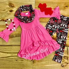 Girls Valentine's Day Scarf Outfit, Hi Lo, Red Hearts, Be Mine, Monogram, Ruffle, Pants, Girl Clothes, Toddler Girl, Infant, Apple Of My Eye by MoxieGirlBoutique on Etsy
