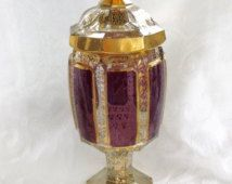 Amethyst Bohemian Glass Jar Footed Compote with Lid Vintage Bohemia Glass