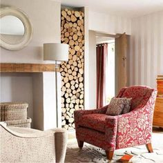 Wall decoration with wood logs