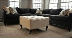 Love This!! Charcoal Grey Sectional +  Over-sized Ottoman. { My Future Living Room }