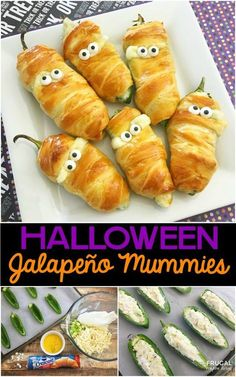 Jalapeño Popper Mummies - ein Halloween Food Craft - Halloween Decor and Reci. Hallowen Food , Jalapeño Popper Mummies - ein Halloween Food Craft - Halloween Decor and Reci. Halloween Food Crafts, Hallowen Food, Halloween Dinner, Halloween Goodies, Halloween Desserts, Halloween Party Appetizers, Halloween Potluck Ideas, Halloween Halloween, Halloween Decorations