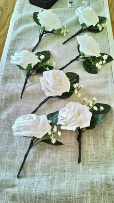 Seven New White Rose Onholes Pins Wedding Party Groom