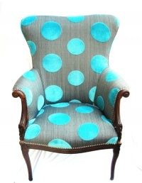 Turquoise and gray polka dot chair Funky Furniture, Furniture Makeover, Painted Furniture, Furniture Design, Funky Chairs, Cool Chairs, Poltrona Bergere, Polka Dot Chair, Love Chair