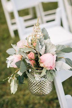 Wedding décor, lamb's ear, pink roses, astilbe, mercury glass // Amy Jackson Photography