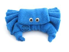 """Washcloth """"Blue Crabb"""", Diaper cake, Under the Sea Birthday Favors, Under the Sea Baby Shower Favors, Stocking Stuffer, Shower Decorations on Etsy, $8.99"""