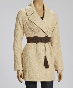 Take a look at this Beige & Brown Belted Jacket by Ryu on #zulily today! $80 !!