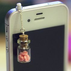 Kawaii LOVE BOTTLE with Pink Hearts Iphone Earphone Plug/Dust Plug - Cellphone Headphone Handmade Decorations sold by FingerFoodDelight. Shop more products from FingerFoodDelight on Storenvy, the home of independent small businesses all over the world. Phone Accesories, Cell Phone Accessories, Tech Accessories, Ipod Cases, Cute Phone Cases, Objet Wtf, Plugs, Accessoires Iphone, Bottle Charms