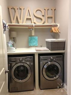 60 Amazingly inspiring small laundry room design ideas. Need to add a bar to hang clothes to dry above the laundry.