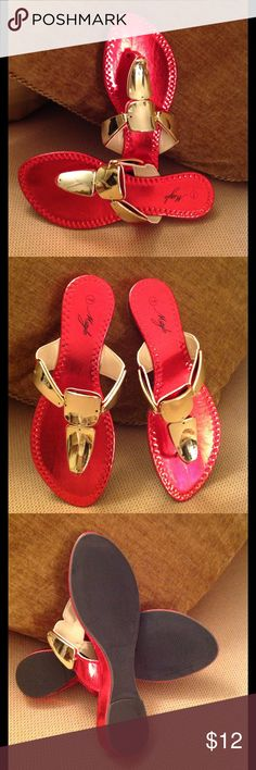 🍃🌹 'MStyle' -  Candy Apple Red / Gold Sandals🍃 Brand New but without tags Red Thonged Style Sandals. Size 7.   Crisp Red / Bright Gold in color. Shoes Sandals