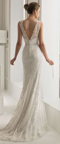 Sheath Wedding Dress : Rosa Clara 2015 Bridal Collection Part 2 Belle the Magazine . The Wedding Bl 2015 Wedding Dresses, Wedding Attire, Bridal Dresses, Bridesmaid Dresses, Empire Wedding Dresses, Low Back Wedding Gowns, Rosa Clara Wedding Dresses, Wedding Dress Buttons, Celebrity Wedding Dresses