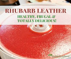 rhubarb recipes: Homemade fruit leather is easy and so much better than store-bought! Plus, when you use rhubarb, you're actually getting in a serving of vegetables. Homemade Fruit Leather, Fruit Leather Recipe, Canning Recipes, Snack Recipes, Healthy Recipes, Ruhbarb Recipes, Jerky Recipes, Canning 101, Rhubarb Fruit