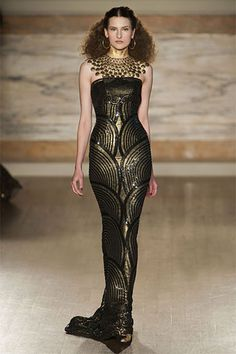 """L'Wren Scott Fall 2013,  """"inspired by Gustav Klimt's paintings and the books 'Dreaming of Decadence' and 'The Lady in Gold'. This sense of luxury is conveyed through gold applique and accessories and an air of heady orientalism."""" www.lwrenscott.com/"""