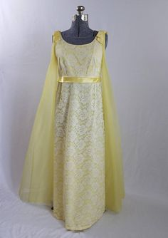 55d1670b12405 Vintage 1960s Evening Gown Yellow Sheath Dress With White Lace Overlay and  Floor Length Chiffon Cape 60s Dresses Vintage Clothing