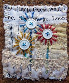 text on textiles: Go West by janelafazio, via Flickr