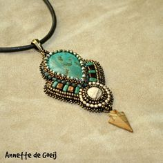Bead embroidered necklace - turquoise and jasper http://jirikidesigns.indiemade.com/product/bead-embroidered-necklace-turquoise-and-jasper
