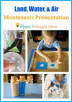 A beautiful land, water, and air Montessori presentation kit from Montessori by… Montessori Preschool, Montessori Education, Preschool At Home, Montessori Materials, Preschool Classroom, Kids Education, Science Activities For Kids, Infant Activities, Reggio