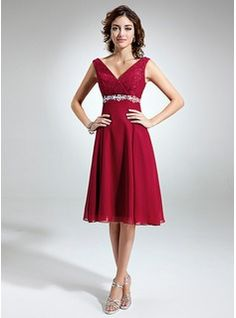 Empire V-neck Knee-Length Chiffon Lace Mother of the Bride Dress With Sash Beading Bow(s) (008005639) - JenJenHouse