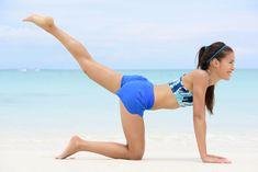 Leg lift butt toning exercise - fitness woman