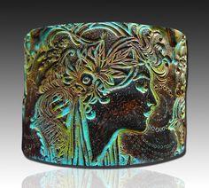 Goddess polymer clay cuff bracelet by adrianaallenllc on Etsy, $20.00