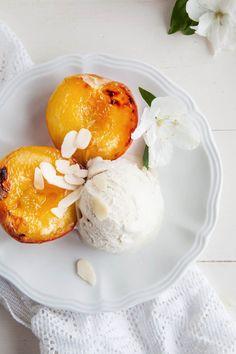 Almond Grilled Peaches & Cream (Vegan + GF)