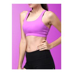 Purple Crisscross Back Sports Chest Pad Tank Top (525 EGP) ❤ liked on Polyvore featuring activewear, activewear tops, pink sportswear and sports activewear