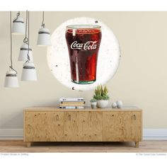 A great accent for your livingroom decor. The Coca-Cola Bell Glass Disc Decal applies easily to most flat surfaces. Removes just as easily without leaving a residue. Available as and 60 inches wide. Retro Living Rooms, Living Room Decor, Coca Cola Decor, Wall Borders, Soda Fountain, Metal Panels, Panel Art, Nests, Coke
