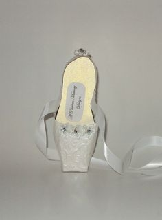 Paper Shoe Art White Shimmer Embossed Pointe by apreciousmemory, $8.00