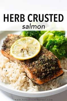Herb Crusted Salmon Recipe, Baked Salmon Recipes, Seafood Recipes, Dinner Recipes, Cooking Recipes, Fish Recipes, Keto Recipes, Breakfast Lunch Dinner, Easy Healthy Recipes