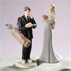 WeddingDepot.com ~ Wedding Cake Topper - Golfing Groom ~ Your groom loves to golf and is anxious to be on the greens all he can... so much that you make jokes that he may be late for the wedding due to golfing.