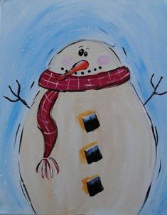 Easy Canvas Painting Ideas | Cute Frosty the snowman canvas paint idea for wall decor. Canvas ...
