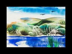 Encausticmalerei Landschaft Lavendel - YouTube