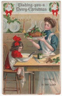 Vintage Christmas Postcard ~ Mother Bringing in the English Christmas Pudding ~ 1909