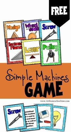 FREE Simple Machines Game is a free printable science game for Kindergarten grade students to learn about the six simple machinesWedge Wheel Axel Screw Inclined Pla. Fourth Grade Science, Primary Science, Preschool Science, Elementary Science, Science Classroom, Teaching Science, Science Activities, Science For Kids, Science Ideas