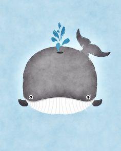 Baby Whale Watercolor Whale Art Whale Nursery Art Boy