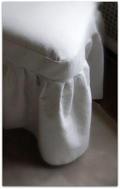 Easy slipcover idea for ottoman/dress-up box! - She uses dropcloths!